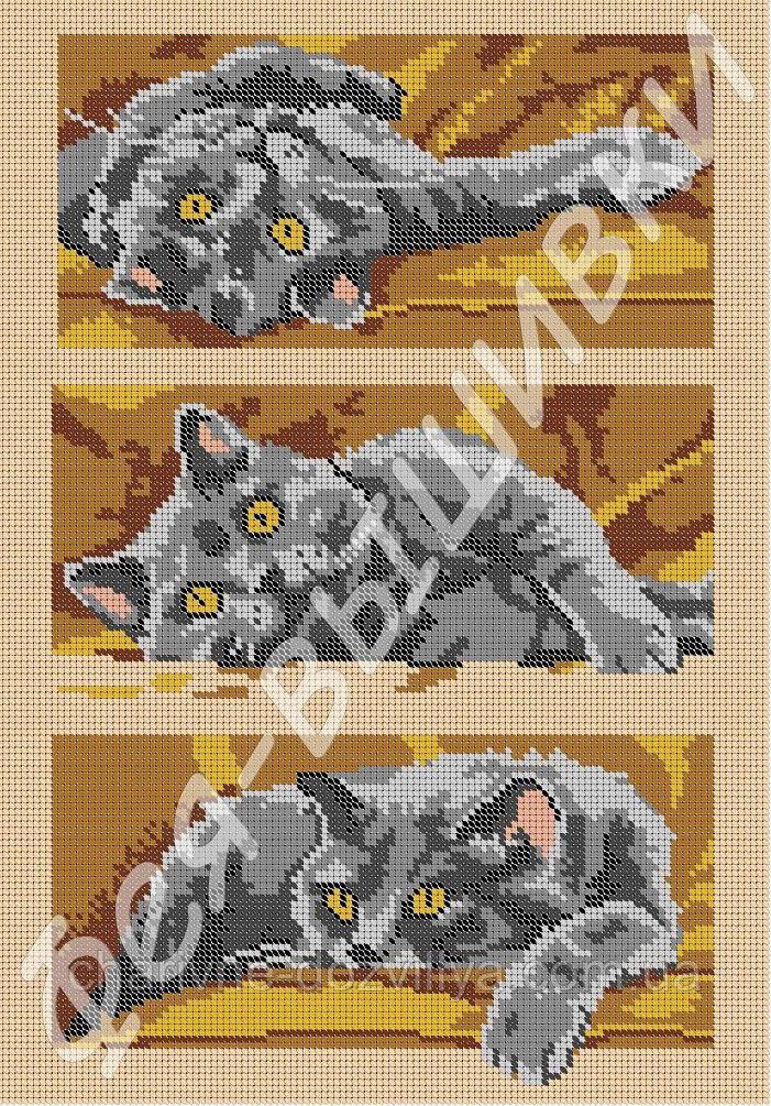 """Схема для вышивки бисером  на габардине """"Три котенка"""" (полная зашивка)"""
