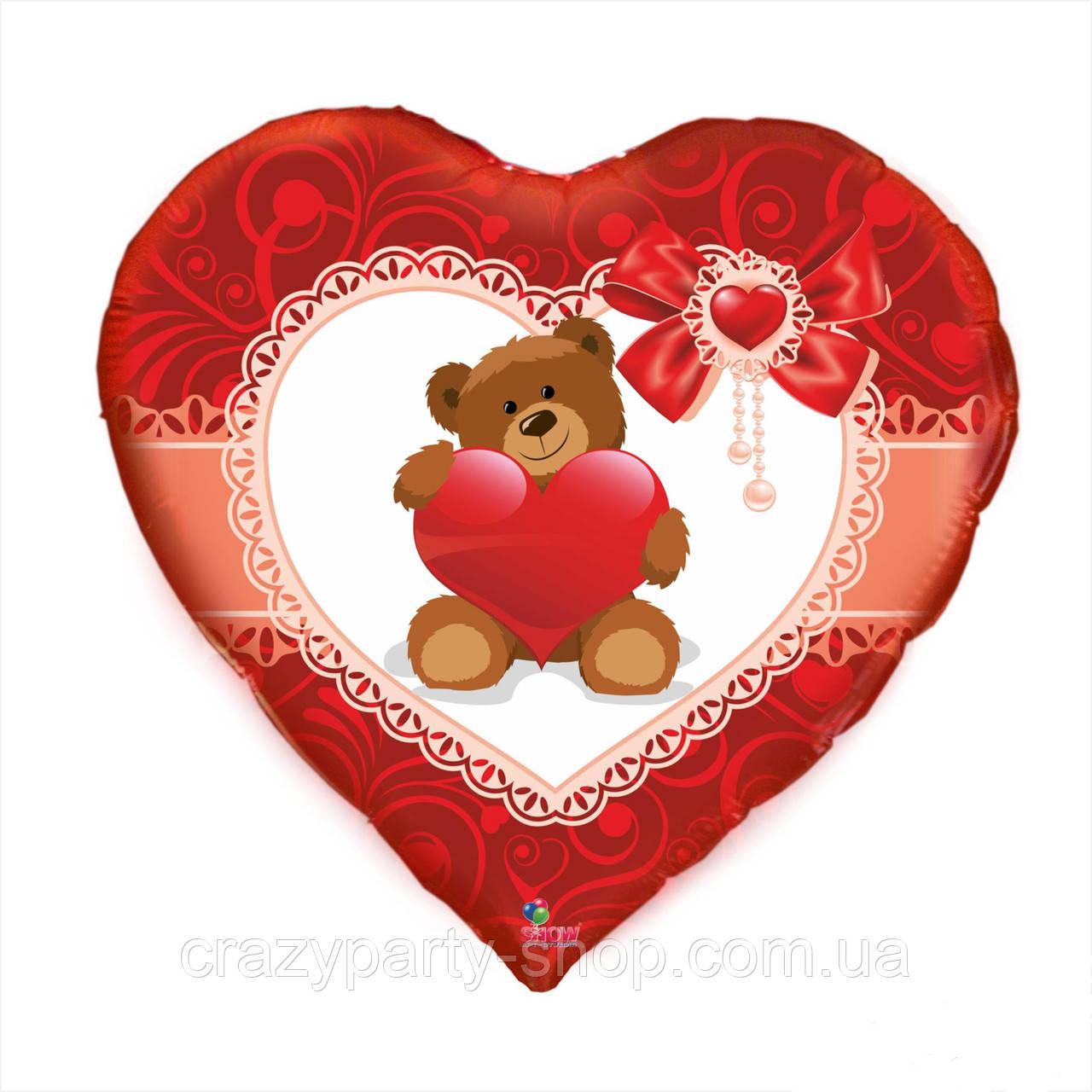 Шар фольгированный Мишка с сердечком