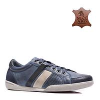 Модные мужские кожаные спортивные туфли польские синие Mazaro SD62-13