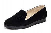 Туфли женские замшевые балетки чёрного цвета на термополиэстеровой подошве чёрного цвета