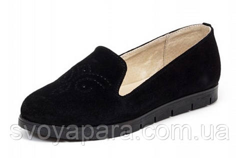 Туфли женские замшевые балетки чёрного цвета на термопластичной резиновой подошве чёрного цвета