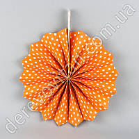 Подвесной веер, оранжевый в мелкий горох, 40 см - бумажный декор-розетка