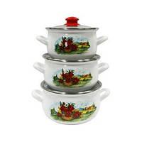 """Эмалированная посуда. Набор кастрюль эмалированных из 3 предметов """"Маковый"""" TM INTEROS Турция"""