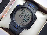 Мужские (женские) спортивные наручные часы Skmei черного цвета с синими вставками