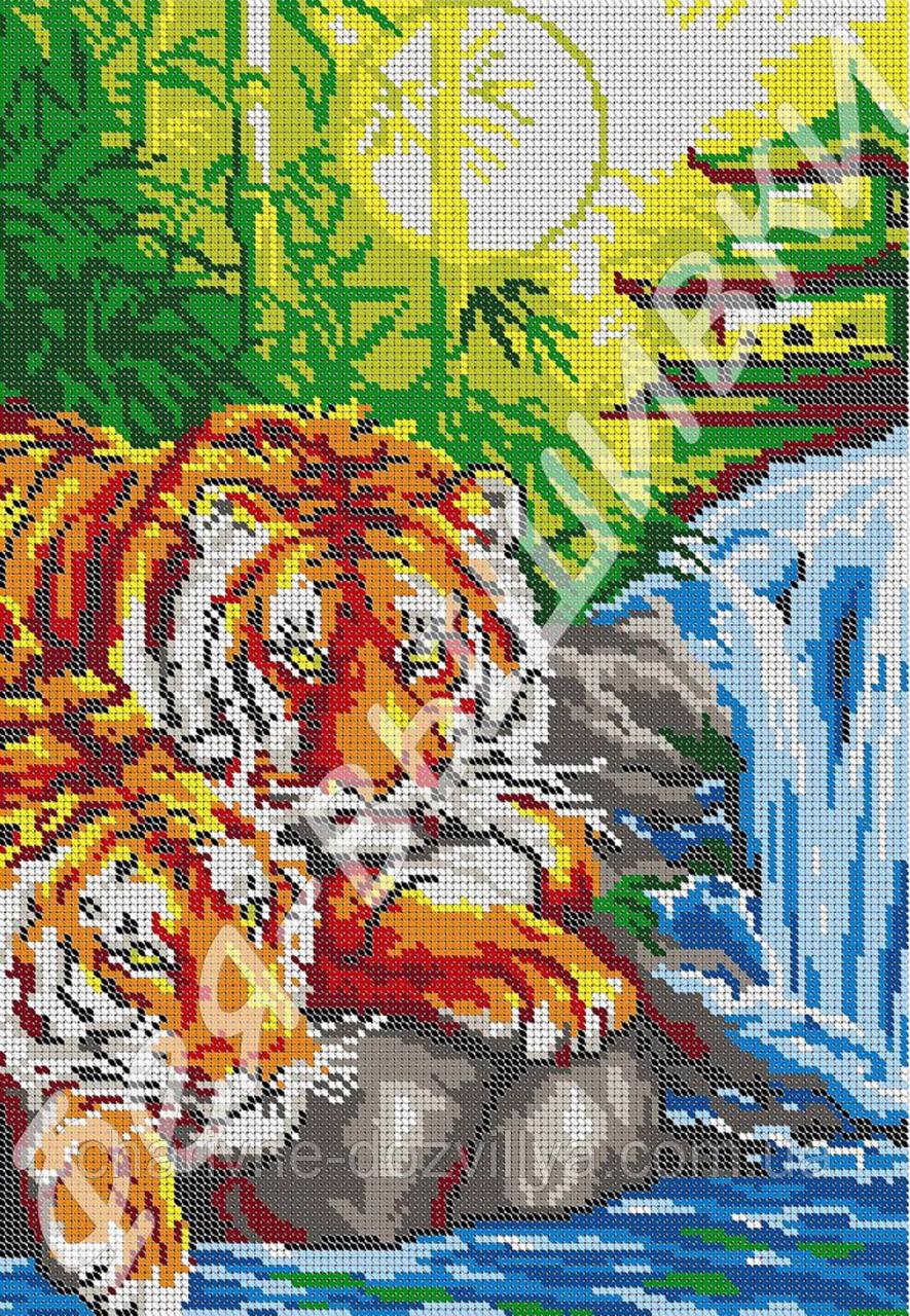 """Схема для вышивки бисером на габардине """"Тигр и Тигрица"""" (полная зашивка)"""