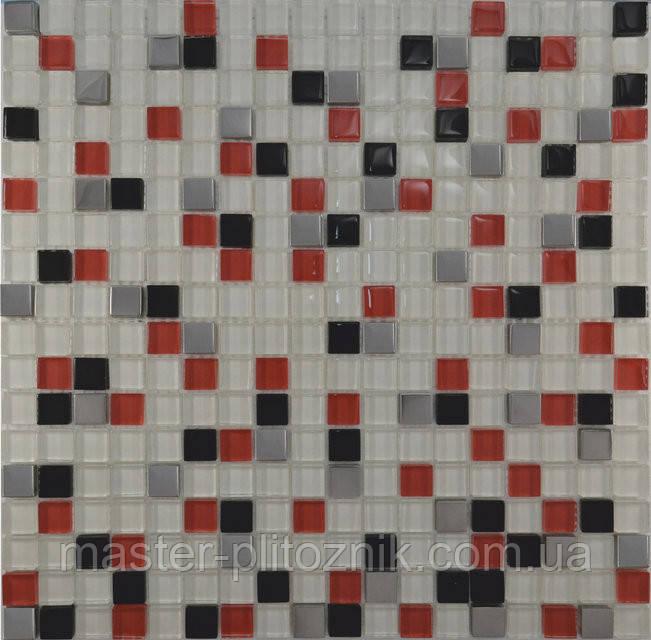 Мозайка Микс белый-красный-черный-платина