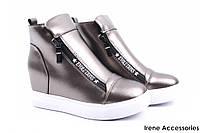 Стильные ботинки женские Li Fexpert эко-кожа цвет бронза (ботильоны, платформа, эко-кожа, подошва белая)