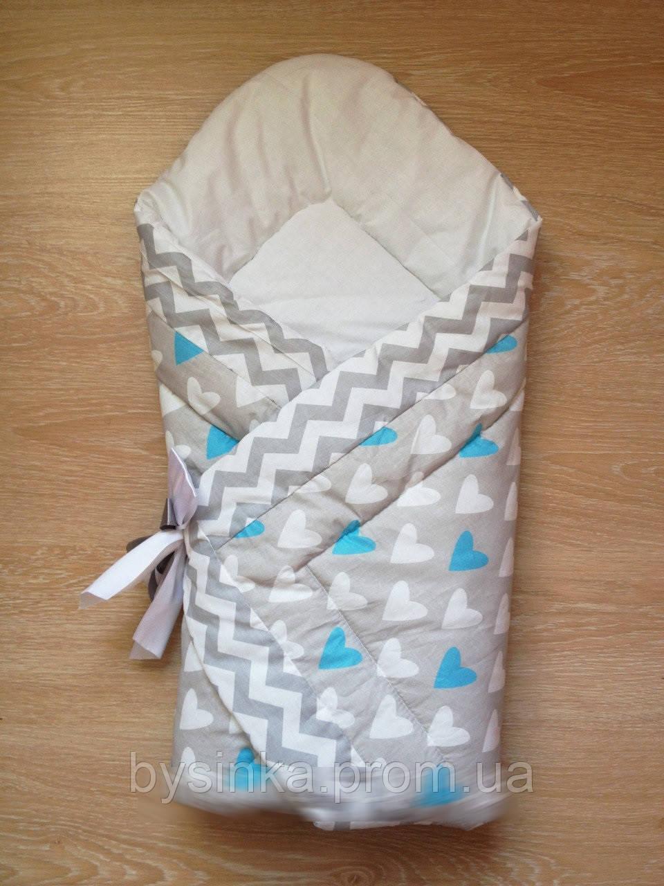 "Одеяло на выписку на липучке с красивым бантом (зимний), 90х90- ""Сердечки"""