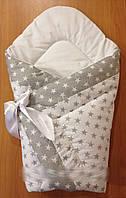 Новорожденный конверт-одеяло на выписку на липучке с красивым бантом (весна/зима/осень), 90х90