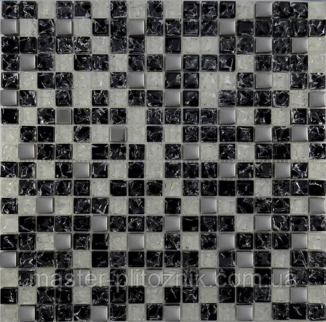 Мозайка Микс черный колотый-белый колотый-платина