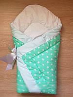 """Конверт-одеяло на выписку на липучке с красивым бантом (зимний), 90х90- """"Звездочка """", фото 1"""
