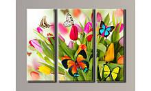"Модульная картина на холсте ""Бабочки на тюльпанах"""