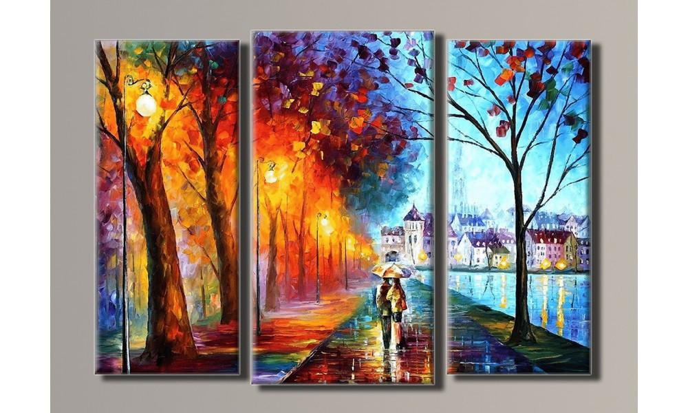 "Модульная картина на холсте ""Прогулка под дождём"""