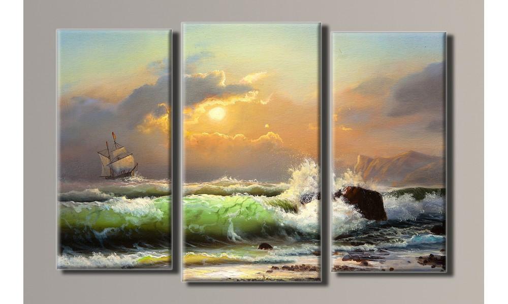 """Модульная картина на холсте """"Морской прибой"""""""