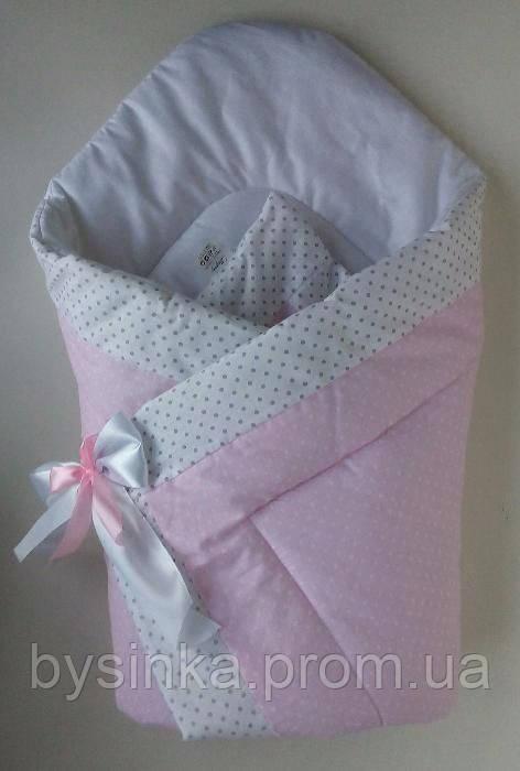 """Конверт-одеяло на выписку на липучке с красивым бантом (еврозимний), 90х90- """"Розовый горошек"""""""