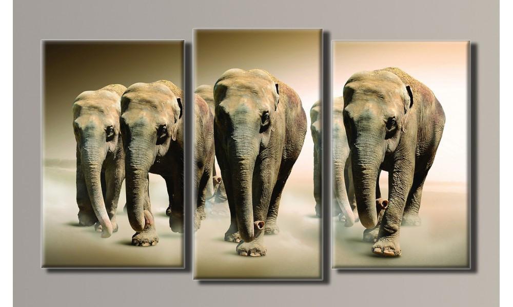 """Модульная картина на холсте """"Слоны в поле 2"""""""