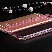 Силиконовый розовый чехол с камнями Сваровски для Iphone 5 5S