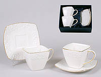 """Элитный чайный набор """"Цветы"""", фарфор, 2 чашки с блюдцами"""