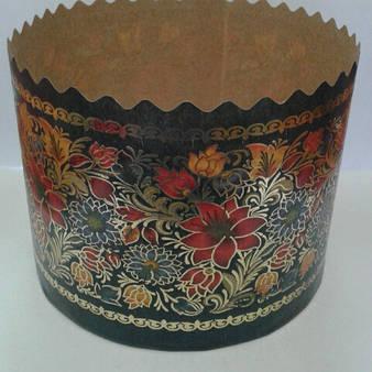 Бумажная форма для выпечки пасхи с золотом, d-70
