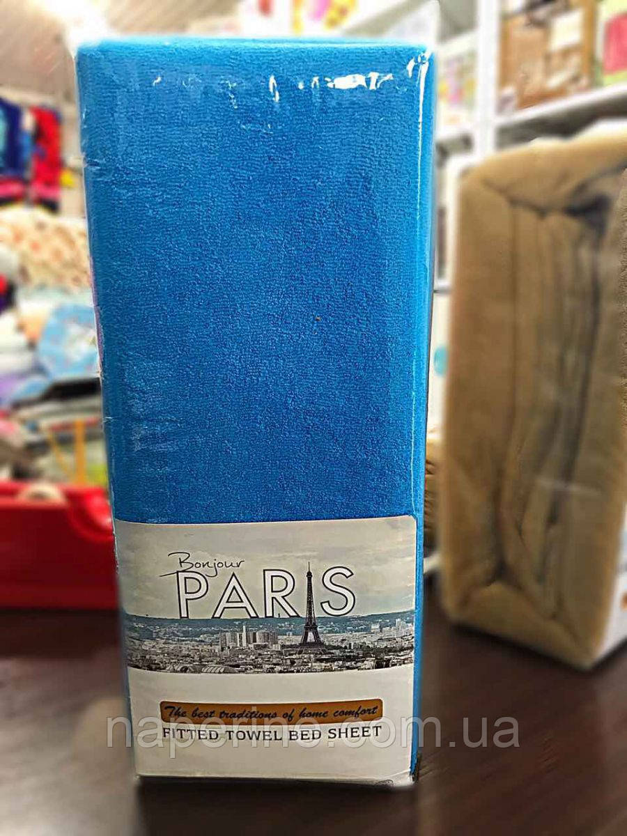 Простынь махровая на резинке  Bonjour Paris 160*200(+30), 2 нав. 70*70 см