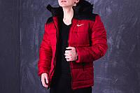 Зимняя мужская спортивная куртка Nike, красно-черная