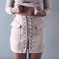 Замшевая юбка со шнуровкой, фото 1