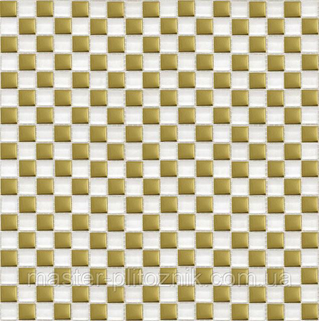 Мозайка шахматка белый-золото