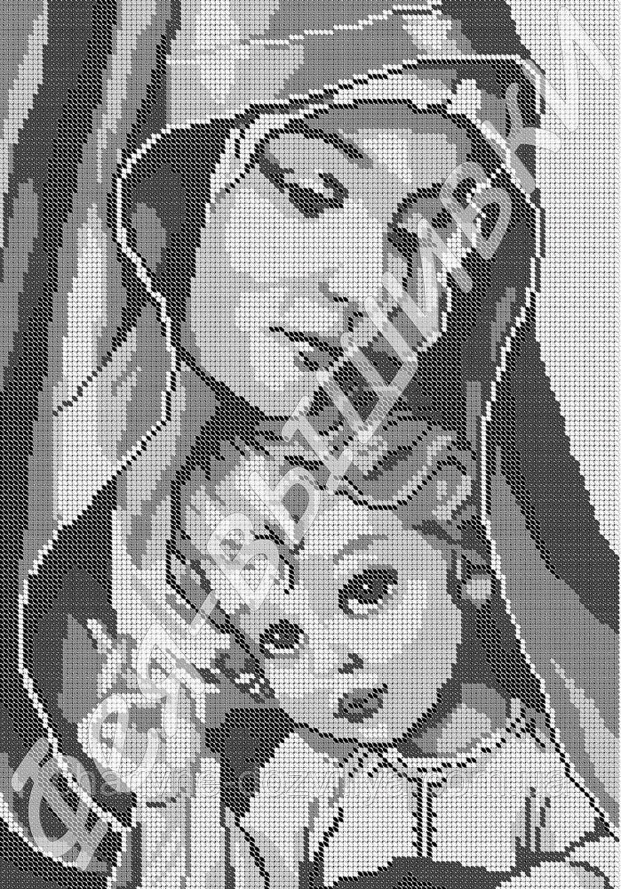 Мадонна с младенцем вышивка схема