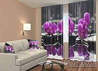 "ФотоШторы ""Орхидеи на камнях"" 2,5м*2,0м (2 половинки по 1,0м), тесьма"