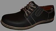 Туфли мужские коричневые на шнурках нубук, мужская кожаная обувь от производителя модель ГРШ-Т