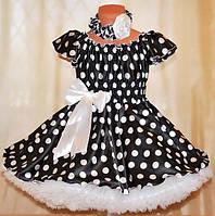 Платье  в горох для девочки + украшение в подарок