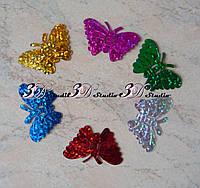 Пайетка Бабочка цвет МИКС голограмма 3,3*2,2 см 10 шт