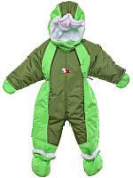 Детский комбинезон трансформер на флисе (Зеленый с хаки)