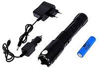 Фонарь электрошокер Police 1201, 80000 кВ, аккумулятор 18650, кассета для батареек ААА, зарядка 12В/220В