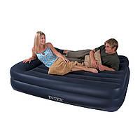 Кровать велюр INTEX 66702 2-х ярусн.син,встроен.эл.насос-220-240В 163*208*47см IKD