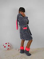 Махровый детский комплект для дома: халат и сапожки
