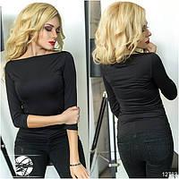 Женская облегающая кофточка черного цвета с рукавом три четверти. Модель 12783.