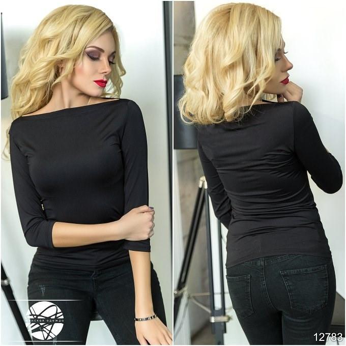 062773500e28 Женская облегающая кофточка черного цвета с рукавом три четверти. Модель  12783.