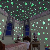 Набор флуоресцентных наклеек звездочек для украшения спальни, комнаты, разноцветные, 100 шт.