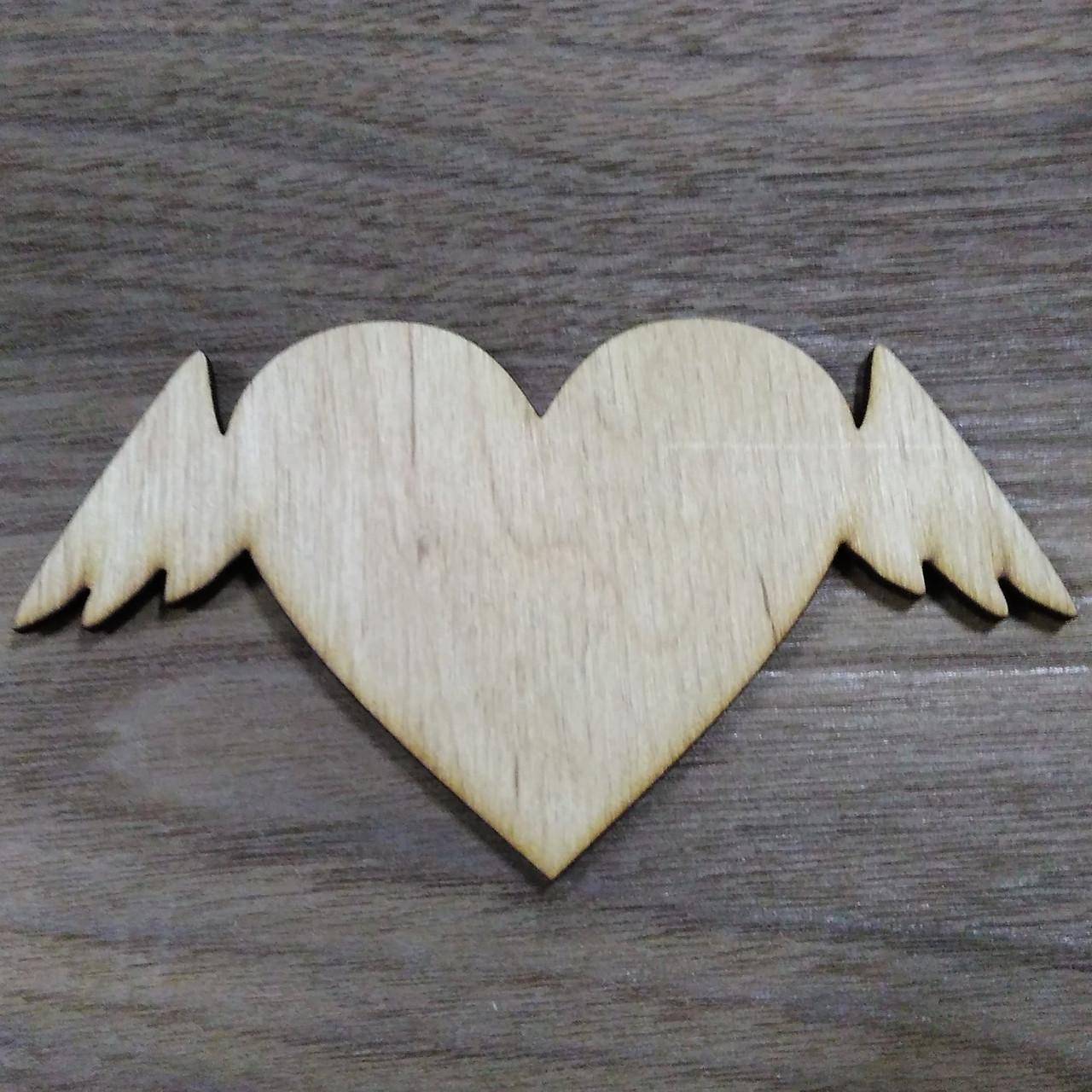 Сердечко с крыльями 6 см