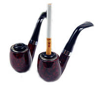Трубка курительная 13.5х5см с насадкой для сигарет ровная снизу разборная тёмно-коричневая SKU0000611