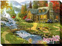 """Набор для вышивания бисером пейзаж """"Дом у реки-2"""""""
