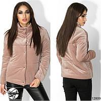 Женская куртка на кнопках розового цвета. Модель 12809.