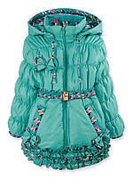 Теплые демисезонные куртки для девочек с капюшоном на флисе р.104,110,116