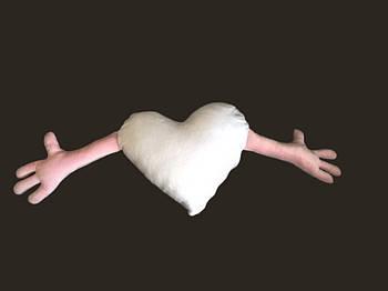 Подушка плюшевая сердце обнимашка для сублимации цвет розовый