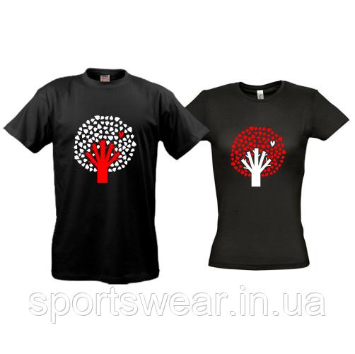 Парные футболки Дерево с сердцами