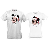 Парные футболки с новогодними Микки и Мини маусами