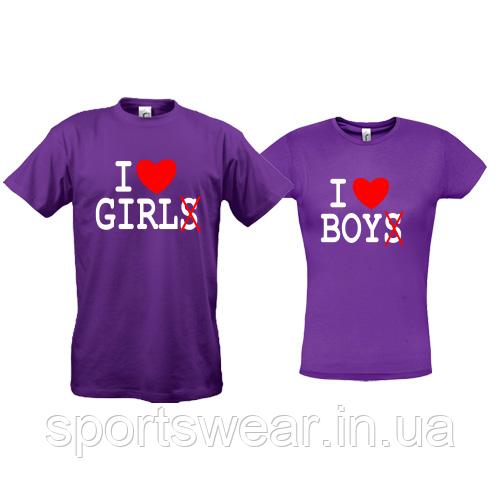 Парные футболки I love BOY - GIRL