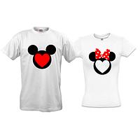 Парные футболки Микки и Минни с сердцем