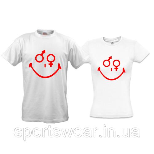 Парные футболки улыбка (мужчина и женщина)